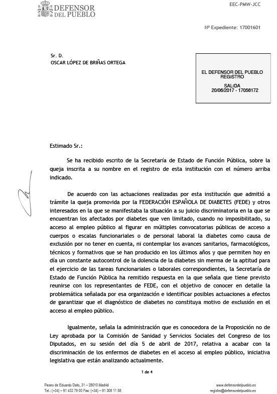 respuesta del Defensor del Pueblo