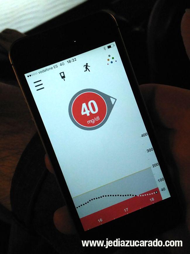 Pantalla de hipoglucemia en la app Dexcom G5