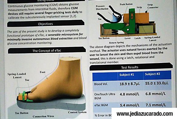 Medidor de glucosa en el dedo gordo del pie