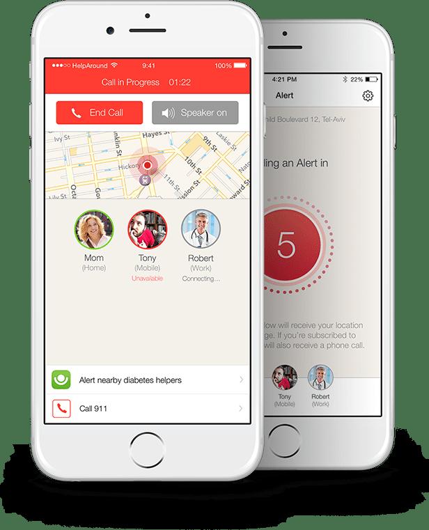Pantalla que muestra el funcionamiento de la app Alert