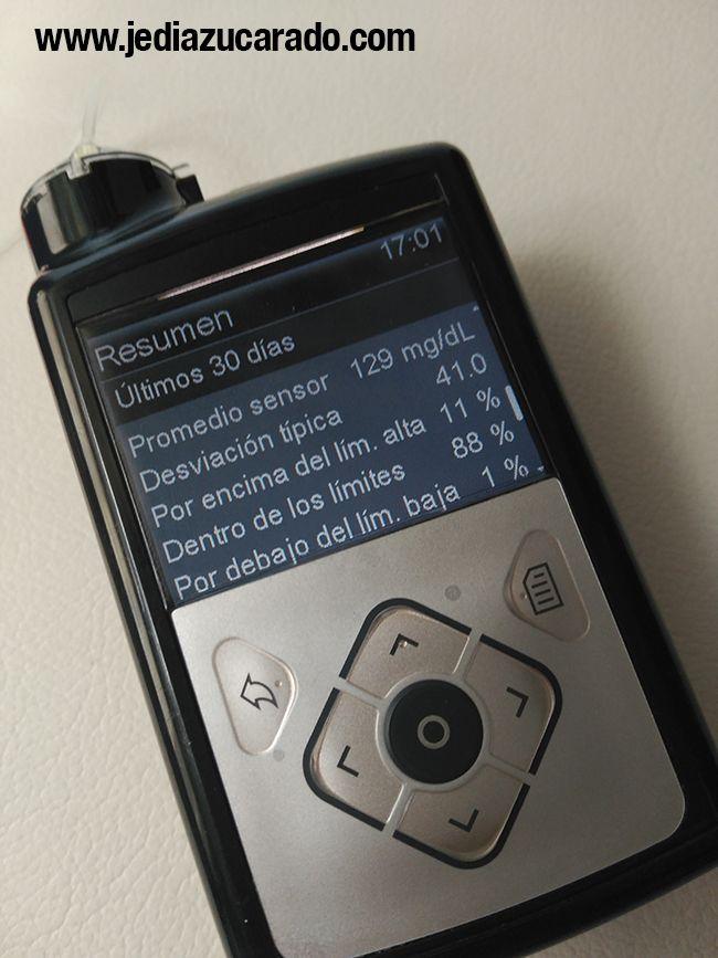 Pantalla con las estadísticas del sensor de la MiniMed 640G