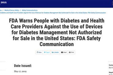 alerta de la FDA sobre sistemas de MCG y páncreas artficial