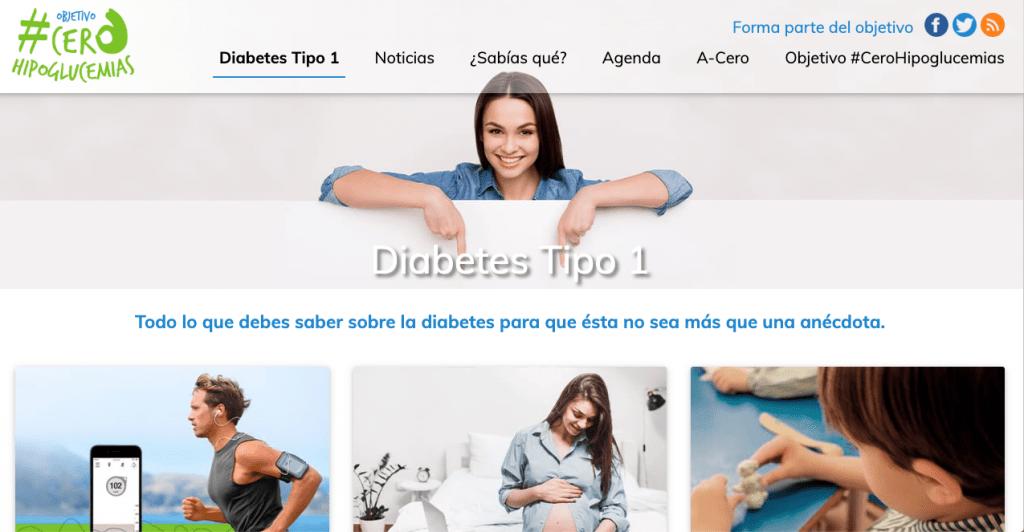 "Aspecto de la web ""Objetivo #CeroHipoglucemias""."